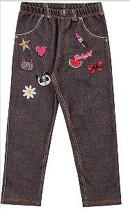 Calça Legging Menina Molecotton Jeans Patch Kiko e Kika