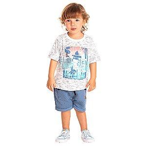Camiseta Infantil Manga Curta Summer Beach Branca Kiko e Kika