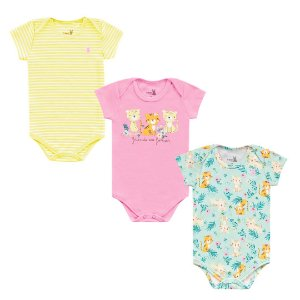 Kit Body Bebê Menina Manga Curta Tigrinha Amarelo Kiko Baby