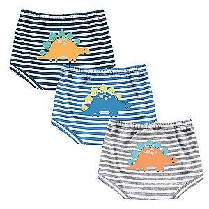 Kit Cobre Fralda Shorts Bebê Dino Listras Kiko Baby