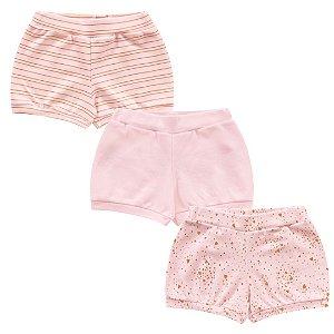 Kit Cobre Fralda Shorts Bebê Menina Glow Shine Rosa Kiko Baby