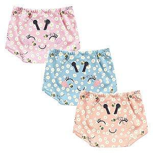 Kit Cobre Fralda Shorts Bebê Abelhinha Little Flowers Tricolor Kiko Baby