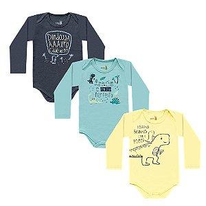 Kit Body Bebê Manga Longa Unissex Dino Tricolor Kiko Baby