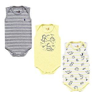 Kit Body Bebê Regata Unissex Dinos Listras Kiko Baby