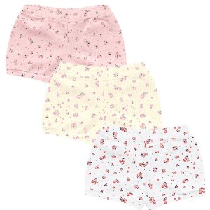 Kit Cobre Fralda Shorts Bebê Little Flowers Tricolor Kiko Baby