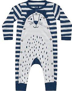 Macacão Bebê Longo Leãozinho Marinho Kiko Baby