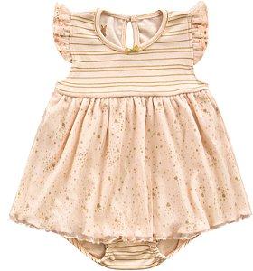 Body Vestido Bebê Romper Menina Shine Salmão Kiko Baby