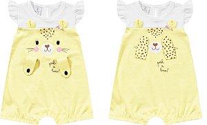 Macaquinho Romper Bebê Tigrinha Amarelo Kiko Baby