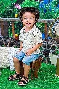 Conjunto Infantil Verão Polo Folhas Bermuda Jeans Doces Momentos