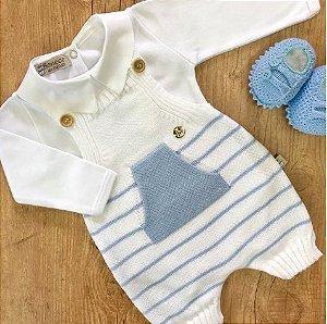 Jardineira Bebê Tricot Branca e Azul Canguru