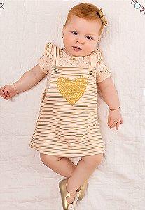 Vestido Salopete Shine Rosa 2 Peças Kiko Baby