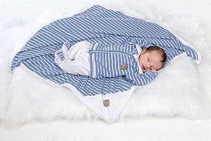 Kit Saída Maternidade Macacão Manta Listras Kiko Baby