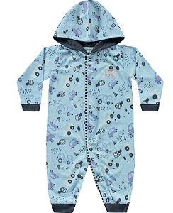 Macacão Longo Carrinhos Azul Kiko Baby