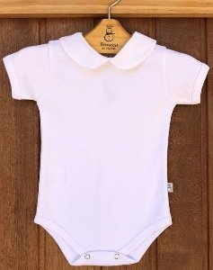 Body Bebê Manga Curta Algodão Egípcio Gola Padre