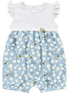Macaquinho Romper Bebê Menina Abelhinha Little Flowers Azul Kiko Baby