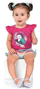 Conjunto Bebê Menina Bata Shorts Tucano Pink Kiko e Kika