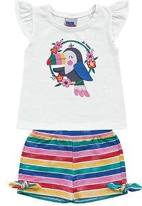 Conjunto Bebê Menina Bata Shorts Tucano Branco Kiko e Kika