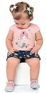 Conjunto Bebê Menina Camiseta Shorts Saia Sereia Rosa Kiko e Kika