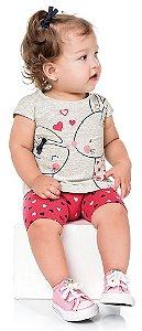 Conjunto Bebê Menina Camiseta Bermuda Coelhinhos Kiko e Kika