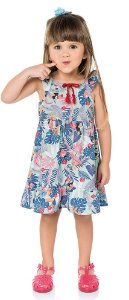 Vestido Infantil Tropical Azul Kiko e Kika