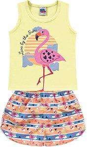 Conjunto Infantil Menina Regata Shorts Flamingo Amarelo Kiko e Kika