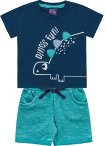 Conjunto Bebê Menino Camiseta Bermuda Dino Azul Kiko e Kika