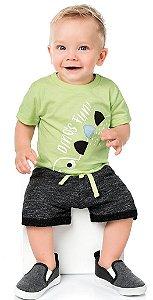 Conjunto Bebê Menino Camiseta Bermuda Dino Verde Kiko e Kika
