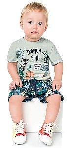 Conjunto Bebê Menino Camiseta Bermuda Leãozinho Verde Kiko e Kika