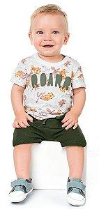 Conjunto Bebê Menino Camiseta Bermuda Roar Leãozinho Kiko e Kika