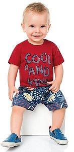 Conjunto Bebê Menino Camiseta Bermuda Cool Vermelho Kiko e Kika