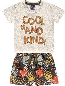Conjunto Bebê Menino Camiseta Bermuda Cool Cinza Kiko e Kika
