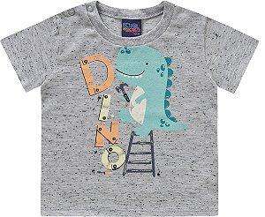 Camiseta Bebê Manga Curta Baby Dino Cinza Kiko e Kika