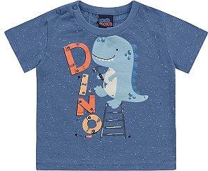 Camiseta Bebê Manga Curta Baby Dino Azul Kiko e Kika