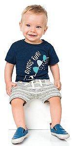 Bermuda Bebê Moletinho Listrada Off White Kiko e Kika