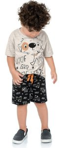 Conjunto Infantil Camiseta Bermuda Cachorrinho Cinza Kiko e Kika