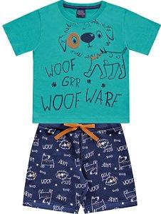 Conjunto Infantil Camiseta Bermuda Cachorrinho Verde Kiko e Kika