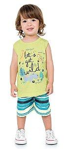 Conjunto Infantil Regata Bermuda Leãozinho Wild Verde Kiko e Kika
