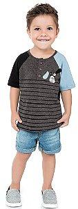 Camiseta Infantil Gola Careca Cachorrinho Preta Kiko e Kika