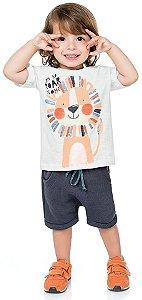 Camiseta Infantil Flamê Leãozinho Roar Branca Kiko e Kika