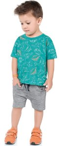 Conjunto Infantil Menino Camiseta Bermuda Dinos Verde Kiko e Kika