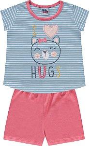 Pijama Infantil Menina Camiseta Shorts Ursinha Kiko e Kika