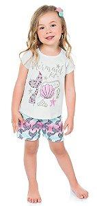 Pijama Infantil Menina Camiseta Shorts Sereia Branco Kiko e Kika