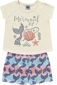 Pijama Infantil Menina Camiseta Shorts Sereia Areia Kiko e Kika