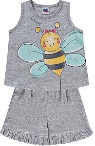 Pijama Infantil Menina Camiseta Shorts Abelhinha Cinza Kiko e Kika