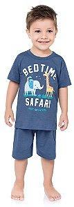 Pijama Infantil Menino Camiseta Shorts Leãozinho Azul Kiko e Kika
