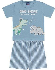 Pijama Infantil Menino Camiseta Shorts Dinos Azul Kiko e Kika