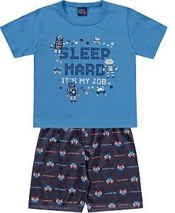 Pijama Infantil Menino Camiseta Shorts Gamer Azul Kiko e Kika