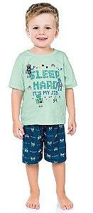 Pijama Infantil Menino Camiseta Shorts Gamer Verde Kiko e Kika