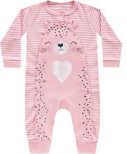 Macacão Bebê Menina Suedine Tigrinha Listras Rosa Kiko Baby