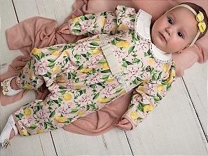 Macacão Bebê Siciliano Guipuire Sofisticado Moletinho Pinoti Baby